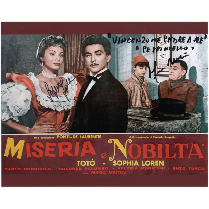 "Miseria e nobiltà - Photograph Signed by Sophia Loren and ""Peppiniello"" Franco Melidoni"