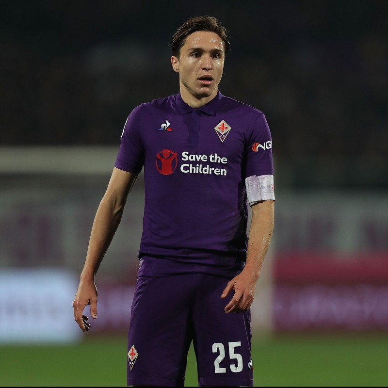 Chiesa's Fiorentina Signed Match Shirt, 2018/19