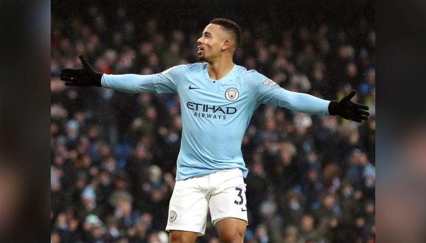 G. Jesus' Manchester City Match White Shorts, Premier League 2018/19