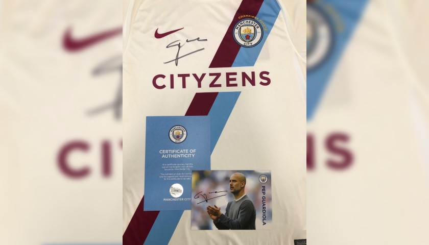 Premier League Champions 2017/18 Manchester City Shirt Signed by Pep Guardiola
