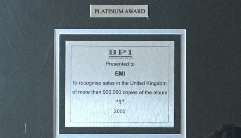 Beatles BPI Platinum Award