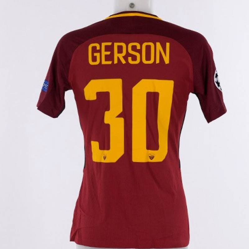Gerson's Match-Issue Roma-Atletico Madrid Shirt, CL 2017/18