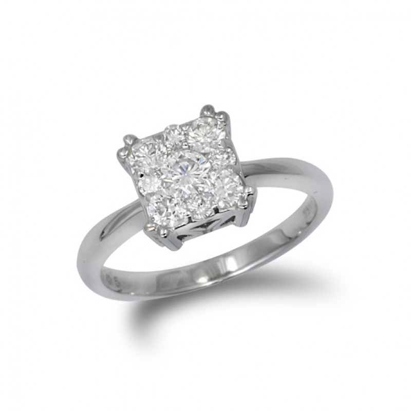 14KT White Gold .52 Carat Square Diamond Cluster Ring