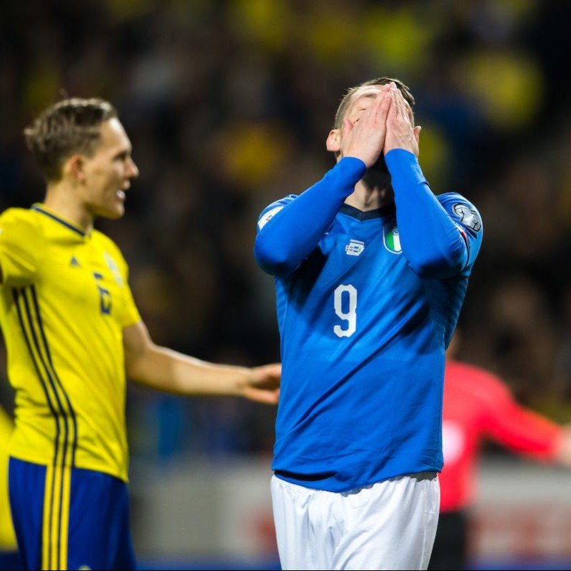 Belotti's Match-Issue/Worn Shirt, Italy-Sweden 2017