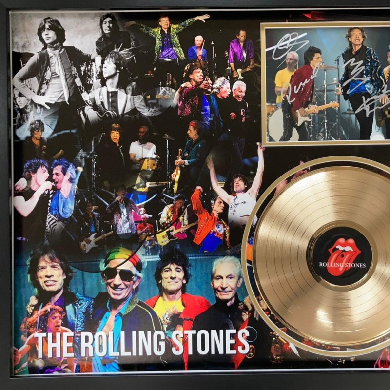 The Rolling Stones Signed and Framed Photo And Gold Disc Display