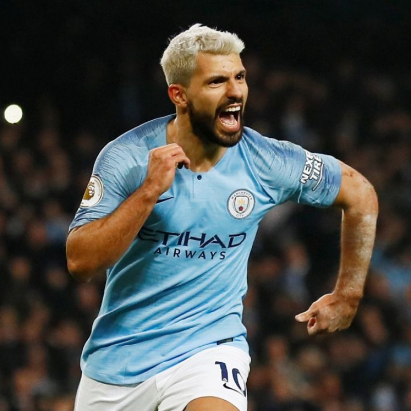 Aguero's Manchester City Match White Shorts, Premier League 2018/19