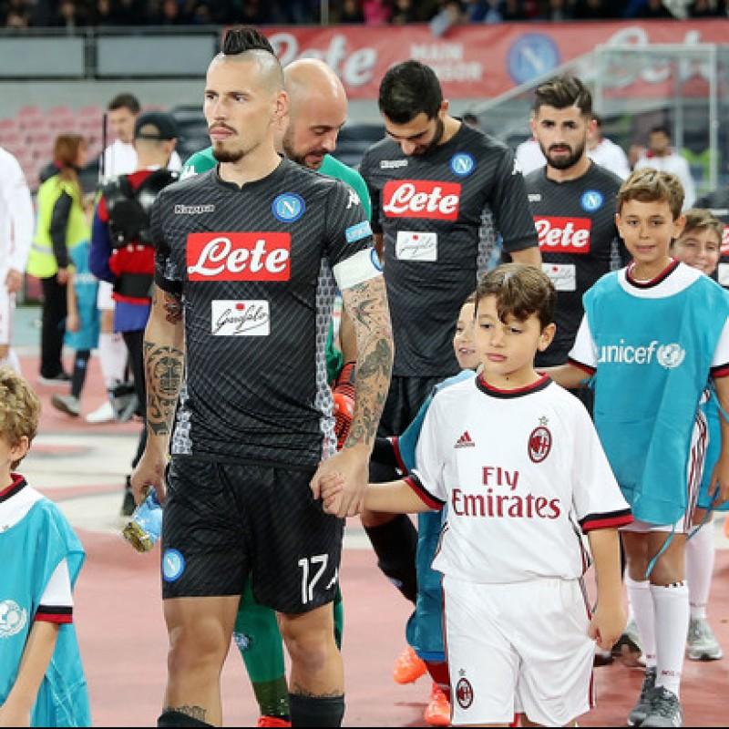 Hamsik's Match-Worn Signed Napoli-Milan Shirt - UNICEF Patch