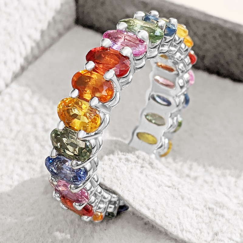 Multiple Color Natural Sapphire Eternity Band - 14K White Gold