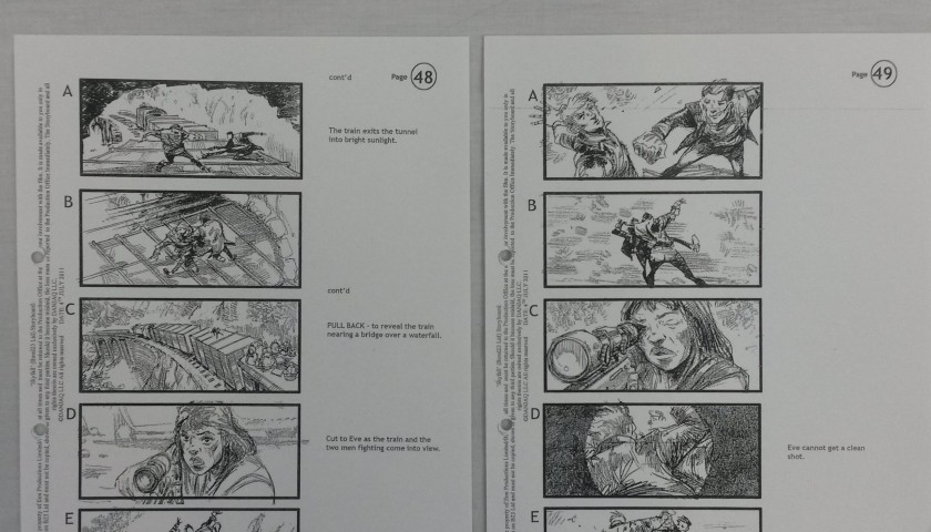 Production Used Sequence of 10 Storyboards from James Bond: Skyfall