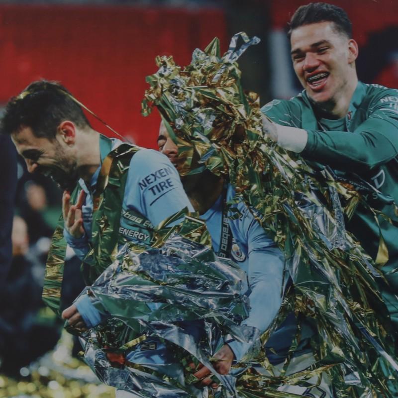 Manchester City's Bernardo Silva & Ederson Unique Picture