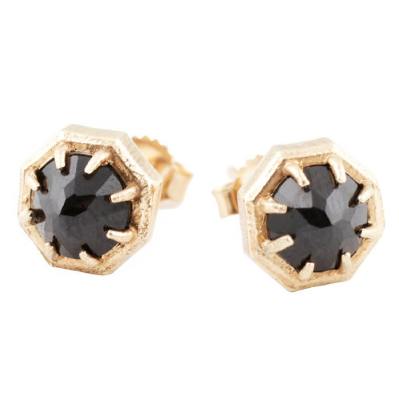 Gold Octagon Spinel Studs by Lauren Wolf