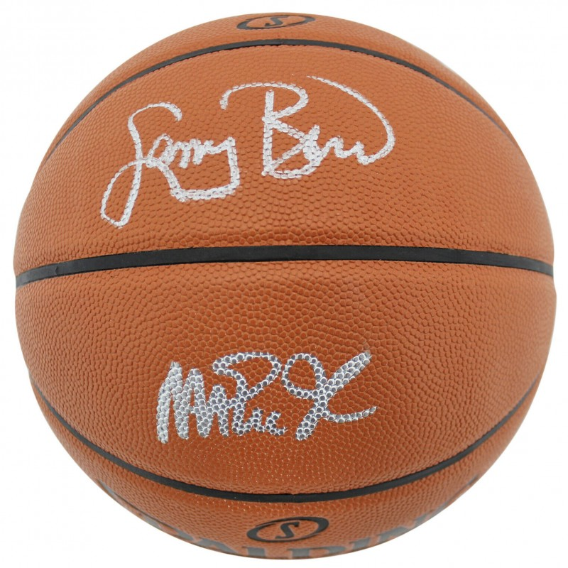 Larry Bird and Magic Johnson Hand Signed Basketball