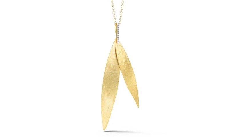14 Karat Yellow Gold Stacked Leaf Necklace