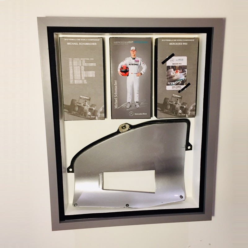 Mercedes F1 Framed Radiator Piece from 2011 Mercedes W02 Driven by Schumacher and Rosberg