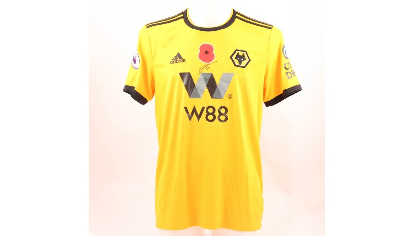 25af266a90c Dendoncker's Wolves FC Issued and Signed Poppy Shirt - CharityStars