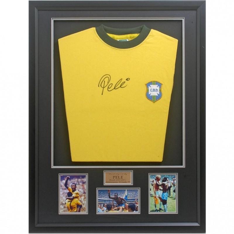 Pelé Hand Signed Retro Brazil Shirt