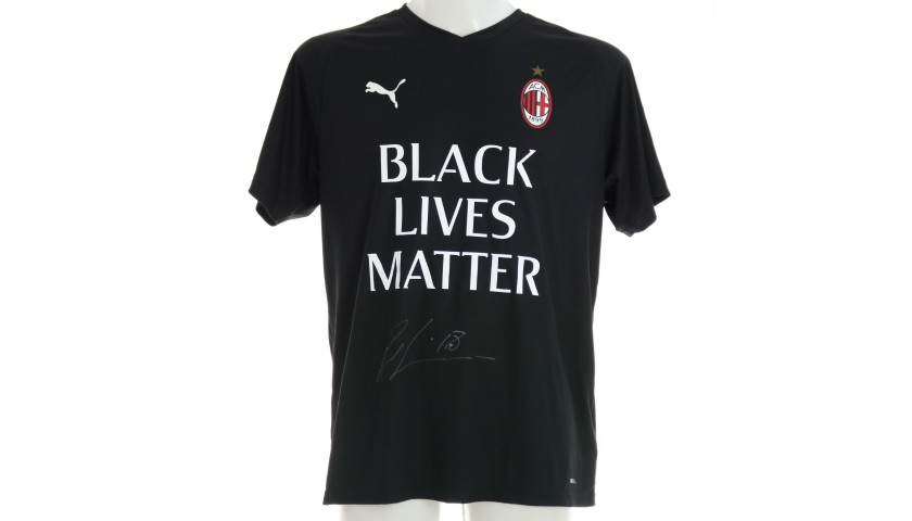 """Black Lives Matter"" Training Shirt, Juventus-Milan - Signed by Rebic"