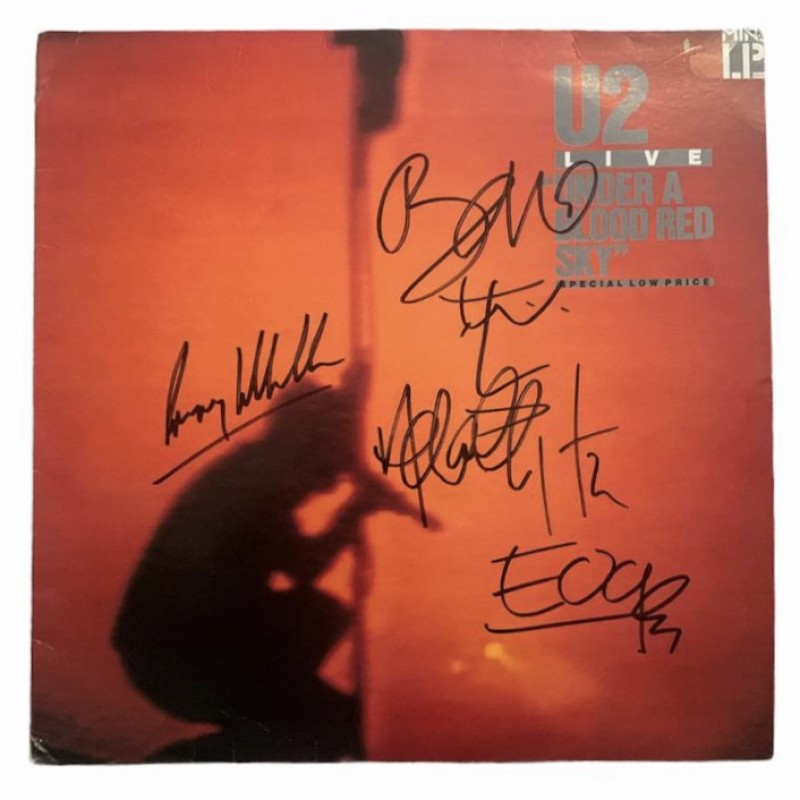 U2 Signed Under A Blood Red Sky Vinyl LP
