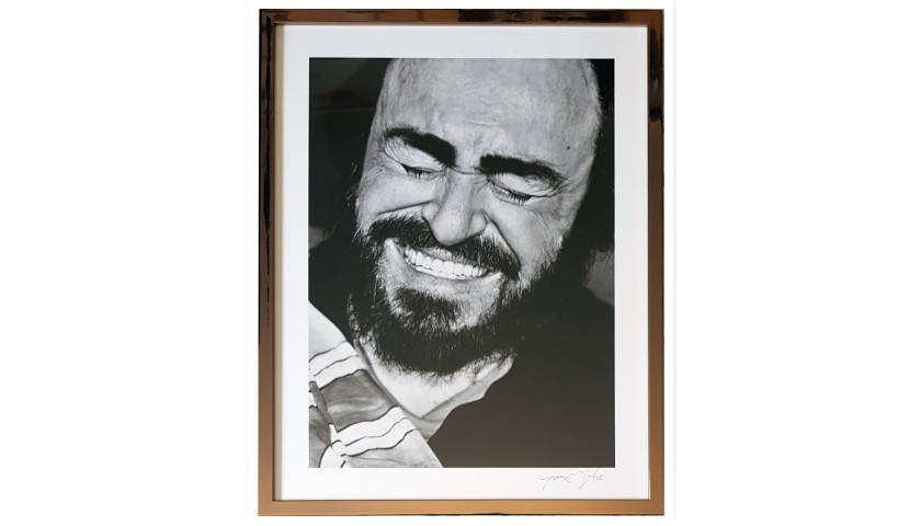 Photograph of Pavarotti Shot and Signed by Chieregato