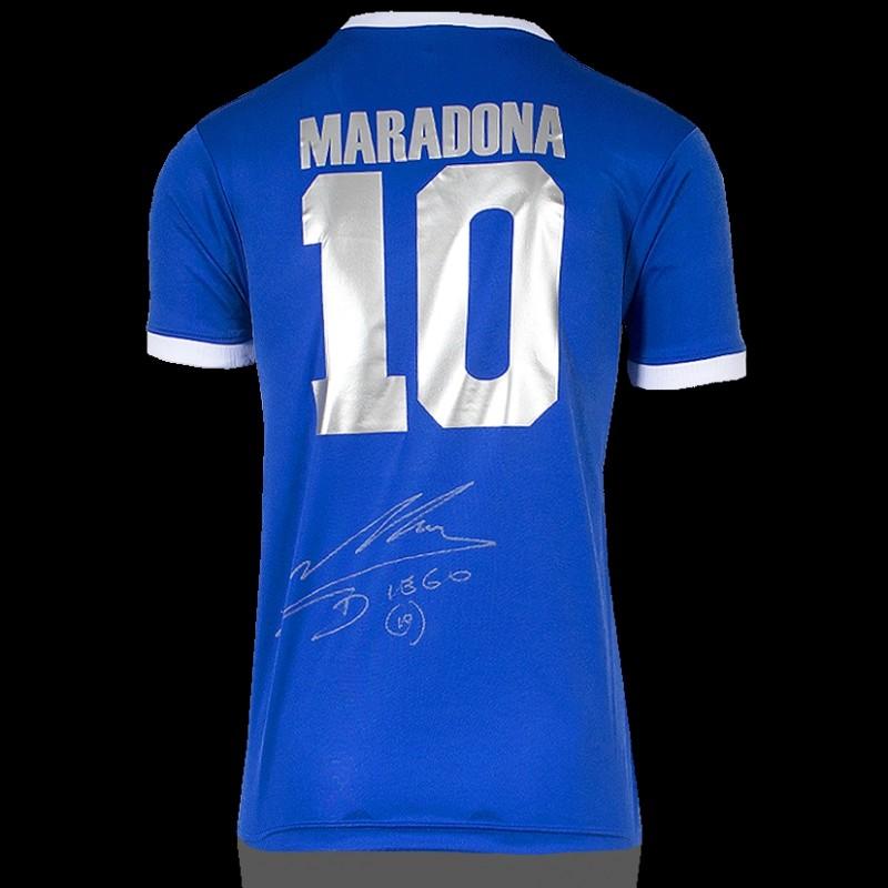 Diego Maradona Back Signed Argentina 1986 Away Shirt