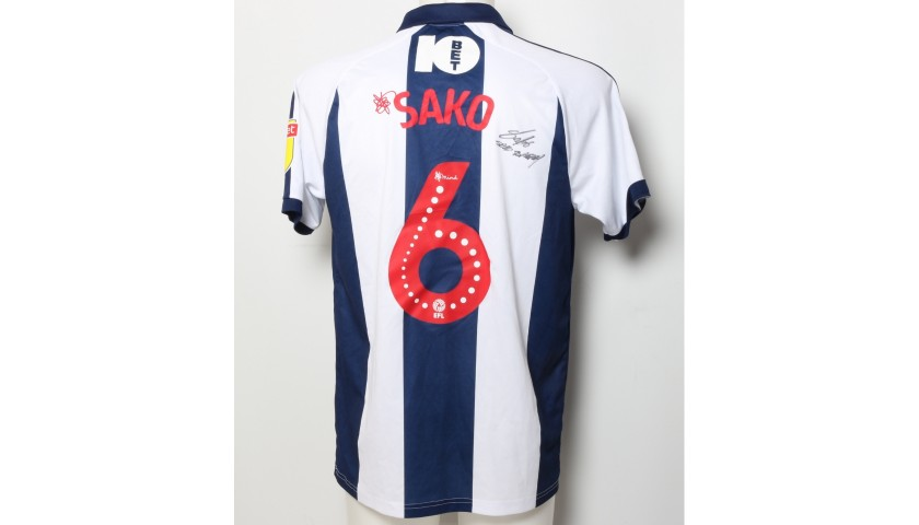 Bakary Sako S West Bromwich Albion Worn And Signed Home Poppy Shirt Charitystars