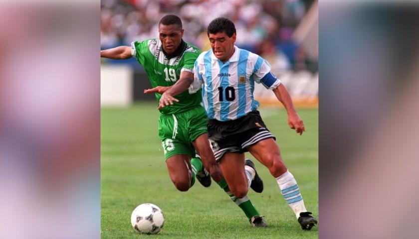 Adidas Questra 1994 Replica World Cup Ball, Signed by Diego Maradona