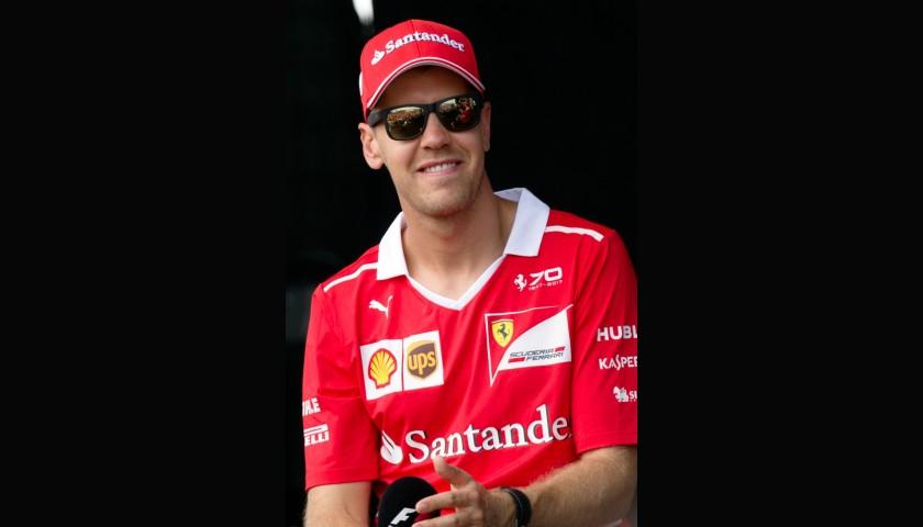 Original Ferrari Team Cap Hand Signed by Sebastian Vettel