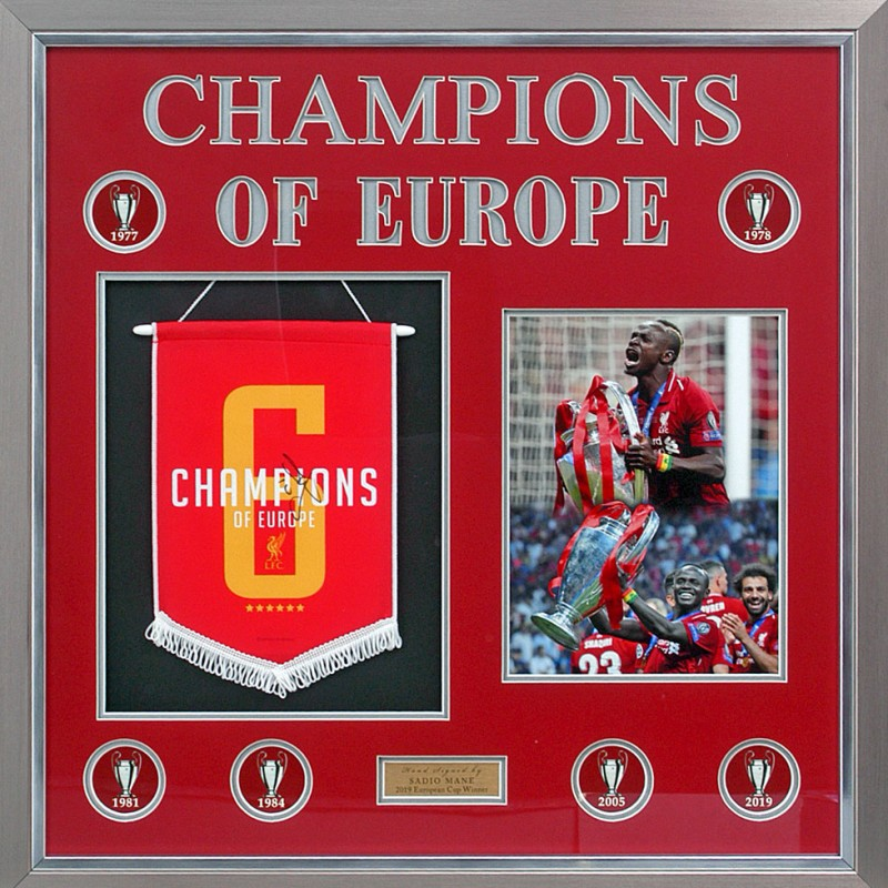 Liverpool Pennant Champions League Winners 2019 Presentation Hand Signed By Sadio Mane