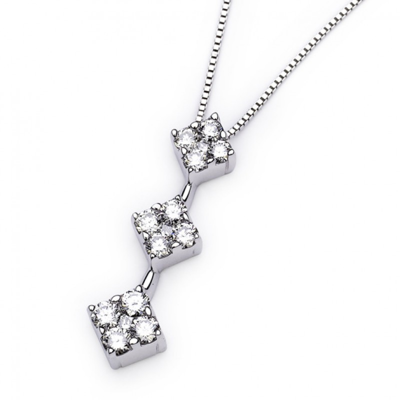 14KT White Gold Past Present and Future 1.00 Carat Diamond Necklace