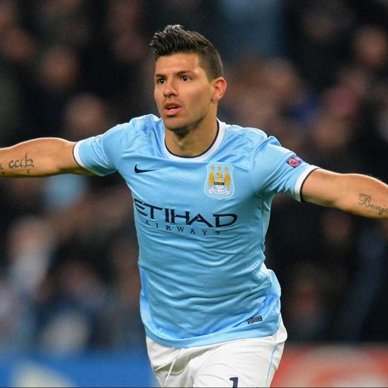 Aguero's Official Manchester City Signed Shirt, 2013/14