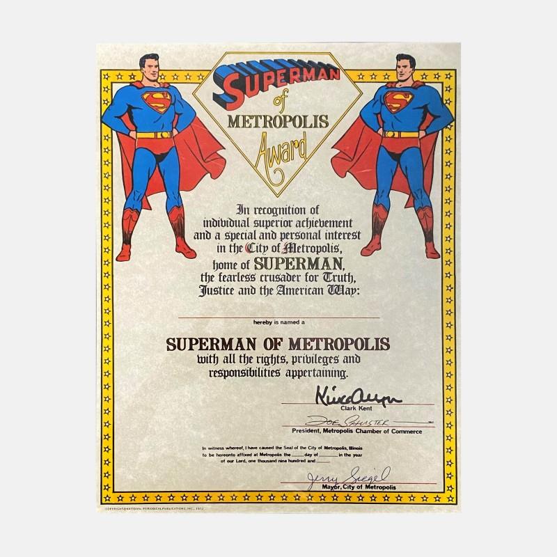 "Premio ""Superman of Metropolis"" autografato da Jerry Siegel, Joe Shuster e Kirk Alyn"