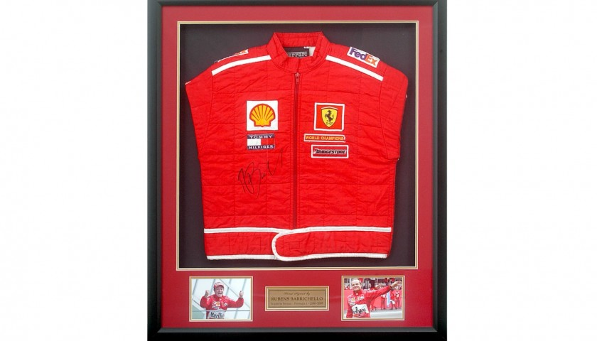 Rubens Barrichello Signed Ferrari Replica Race Jacket