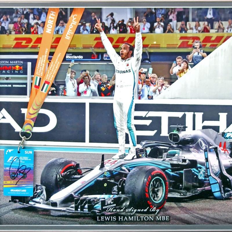 Lewis Hamilton Hand Signed Abu Dhabi Pass Formula 1 Presentation