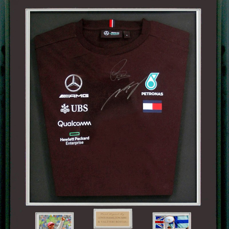 Mercedes Formula 1 Team Shirt, Hand Signed by Lewis Hamilton MBE & Valtteri Bottas