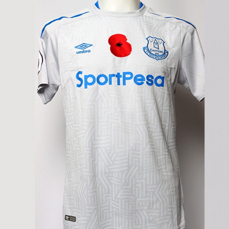 Issued Poppy Away Game Shirt Signed by Everton FC's Cuco Martina