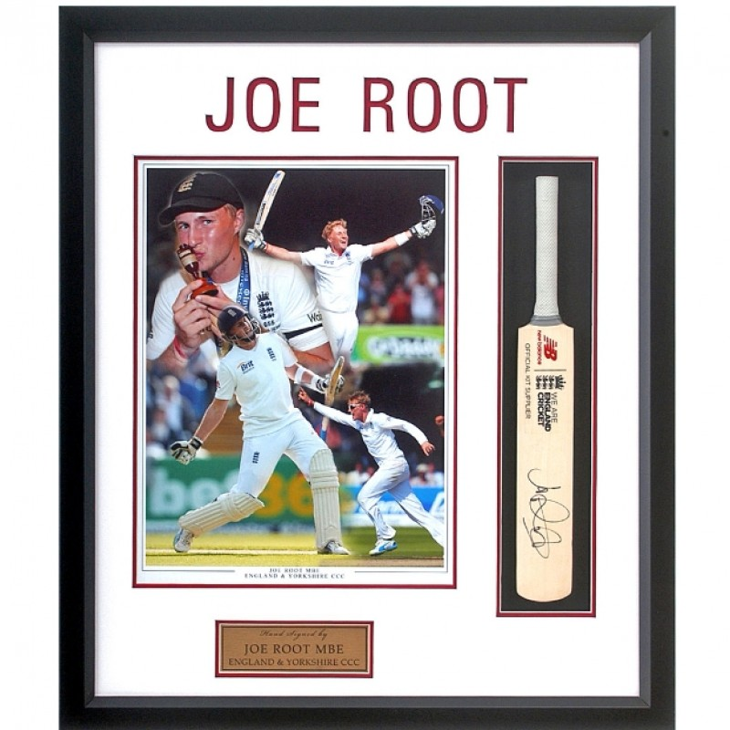Joe Root Hand Signed Mini Cricket Bat Presentation