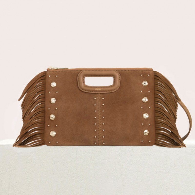 Maje M Duo Clutch in Suede with Studs