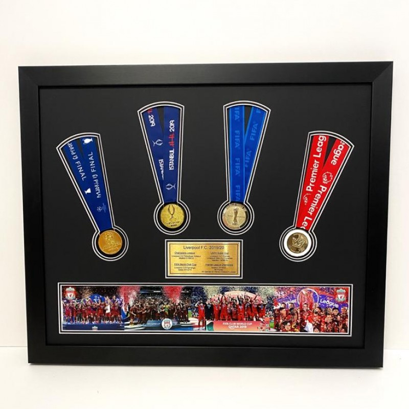 Liverpool FC - Big Four Commemorative Framed Replica Medal Display (2019/20)