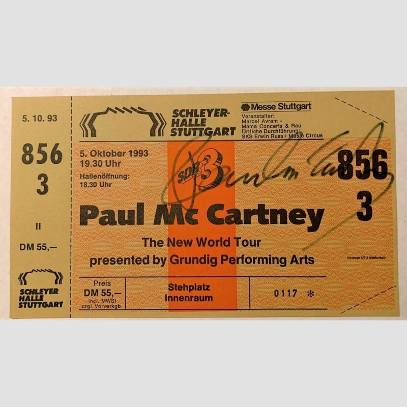 Paul McCartney Signed Concert Ticket, 1993