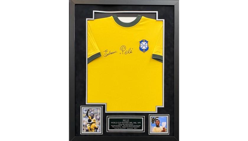 Pelé Signed and Framed Replica Shirt
