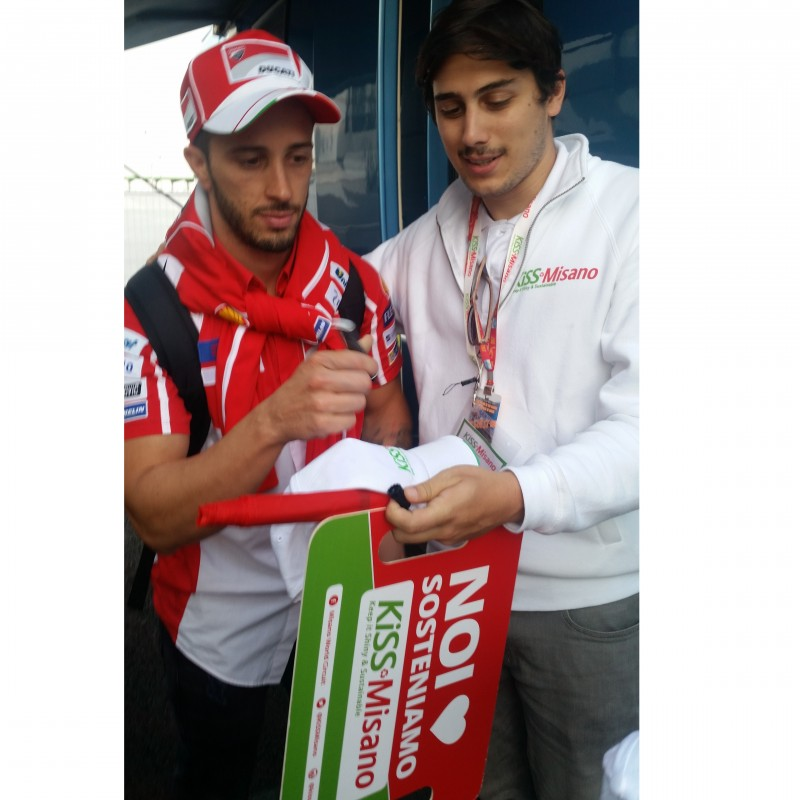 KiSS Misano Banner and Cap Signed by Andrea Dovizioso