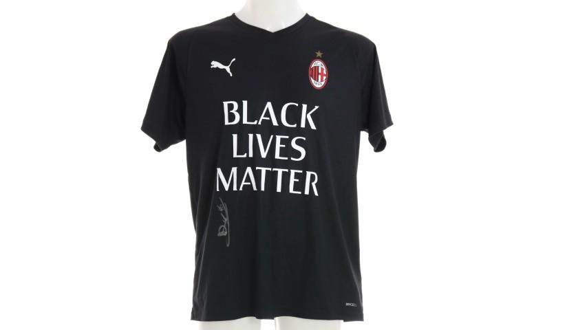 """""""Black Lives Matter"""" Training Shirt, Juventus-Milan - Signed by Gabbia"""