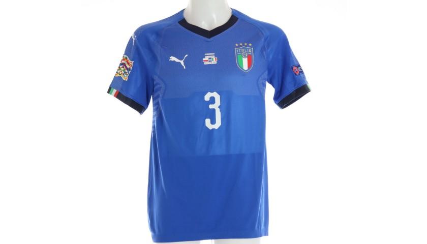 Chiellini's Signed Match Shirt, Poland-Italy 2018
