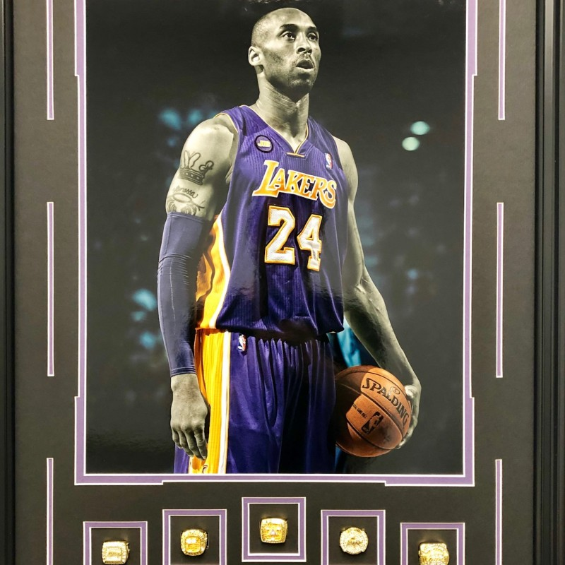 Kobe Bryant World Championship Replica Rings Lakers Shadowbox