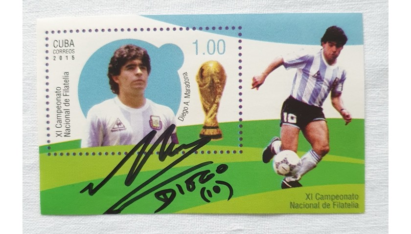 Maradona Argentina Signed Stamp, 2015