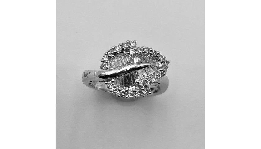 18KT White Gold Baguette and Round Diamond Ring with Leaf Design