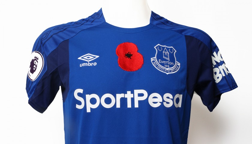 low priced a0488 1b5a1 Worn Poppy Home Game Shirt Signed by Everton FC's Jonjoe Kenny -  CharityStars