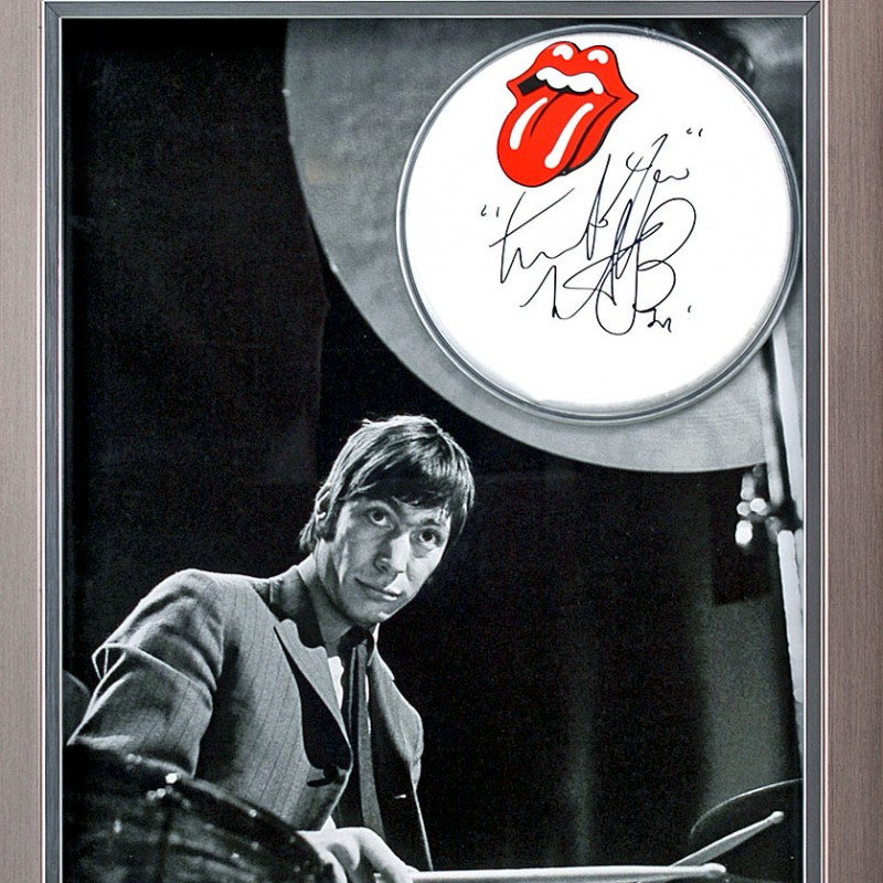 Charlie Watts Signed The Rolling Stones Drum Skin Presentation