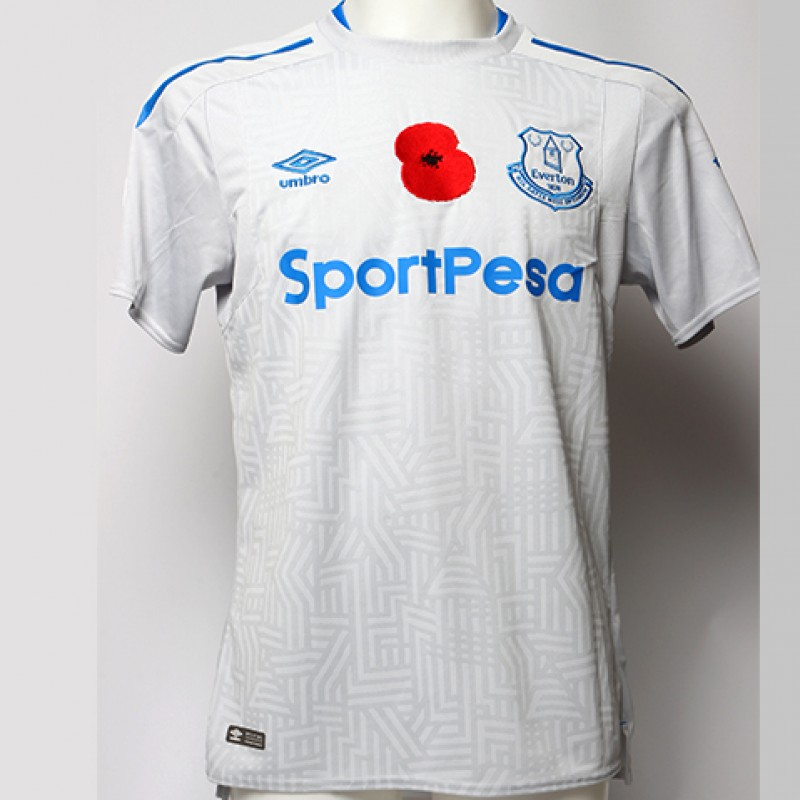 Issued Poppy Away Game Shirt Signed by Everton FC's Davy Klaassen