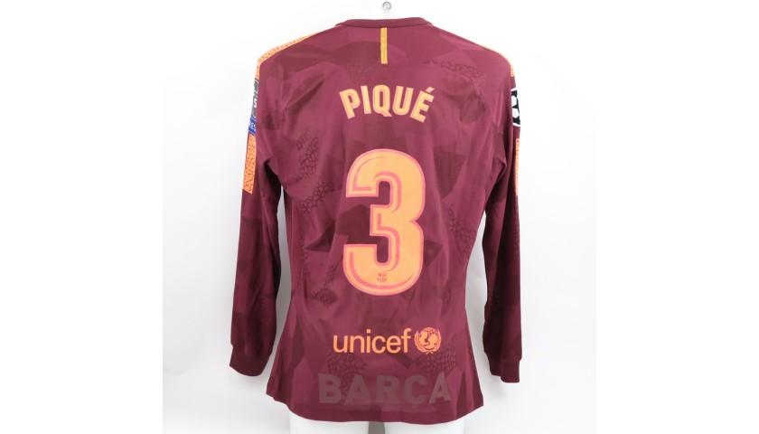 Pique's Barcelona Match Shirt, UCL 2017/18